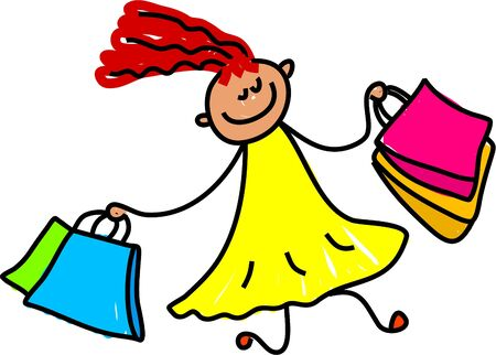 little girl carrying shopping bags - toddler art series Stock Photo