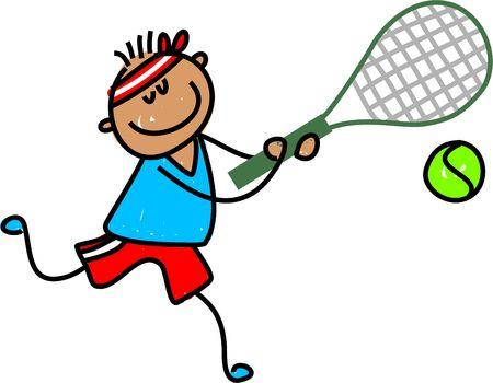 art activity: little ethnic boy playing tennis - toddler art series