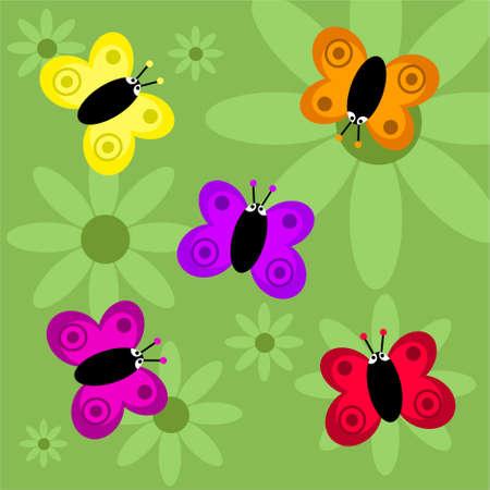 cartoons designs: funky retro butterflies background