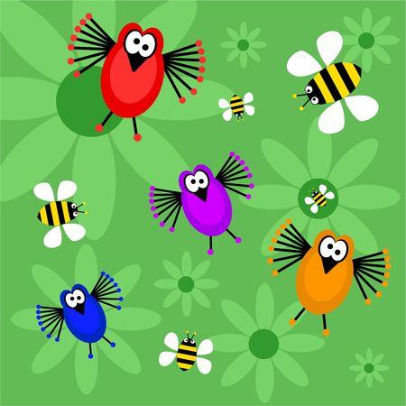 caricaturas de animales: funky aves y abejas de fondo