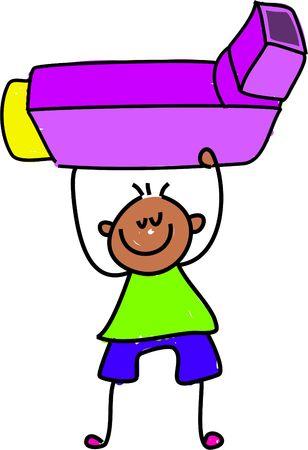 asthma: inhaler kid - toddler art series