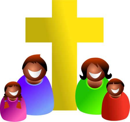 familia cristiana: Familia cristiana - icono serie de personas