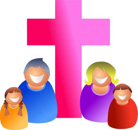 familia cristiana: Familia cristiana - icono pueblo serie Foto de archivo