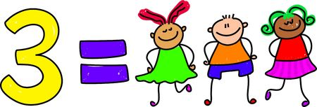 numeracy: three kids - toddler art series