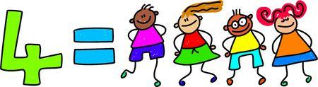 numeracy: four kids - toddler art series Stock Photo