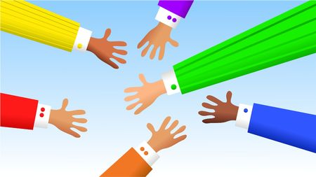 diverse business hands grovelling for deals Stock Photo - 499743