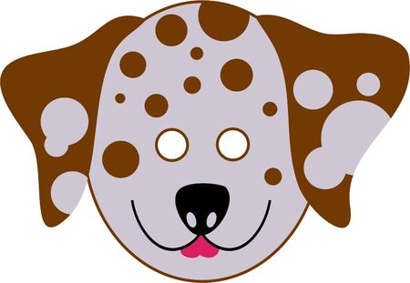 wear mask: spotty dalmation dog cutout mask for kids to wear
