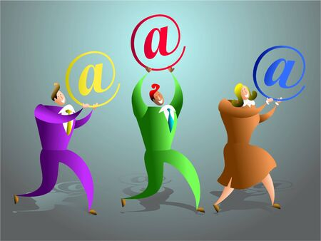 advisers: the happy email support team - business concept illustration Stock Photo