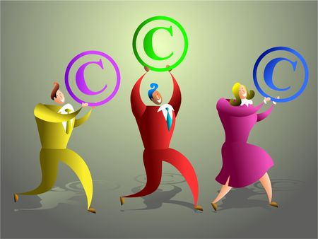 happy business team carrying copyright symbols - concept illustration