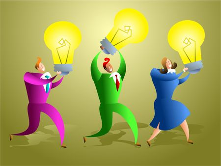 possibilities: team of business people creating ideas - concept illustration Stock Photo