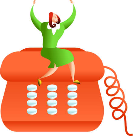 happy business woman sitting on giant telephone - concept image Stock Photo - 574487