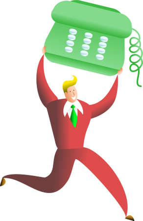 happy business man carrying giant telephone Stock Photo - 574920