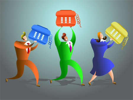 advisers: team of office workers carrying telephones - conceptual illustration Stock Photo