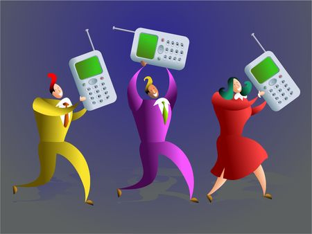happy team of business colleagues carrying mobile phones - concept illustration Stock Illustration - 574472