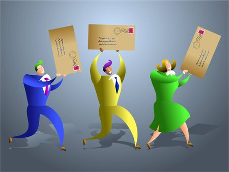 team of business people receiving letters through the post - concept illustration illustration