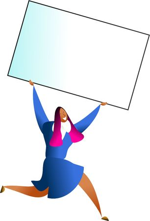 happy woman carrying giant blank business card - just add your own message photo