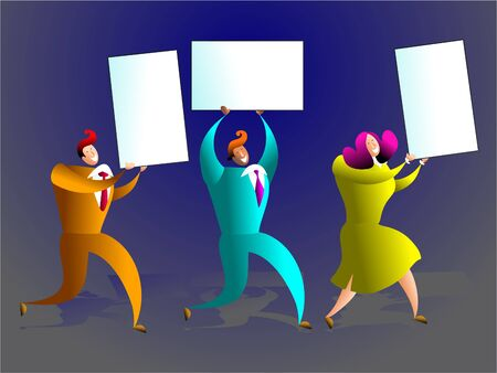 team of executives carrying blank business cards - concept illustration illustration