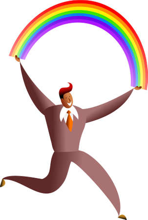 happy ethnic business man carrying a rainbow - concept illustration Stock Illustration - 574869