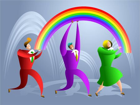team of successful executives carrying a rainbow - concept illustration Stock Illustration - 574870