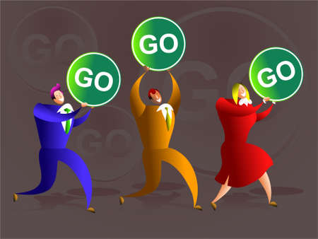 team of business colleagues carrying go signs - concept illustration Stock Illustration - 574875