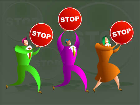 happy business colleague carrying stop signs - concept illustration Stock Illustration - 574880