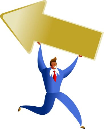 happy business man carrying giant arrow symbol - concept illustration Stock Illustration - 574884