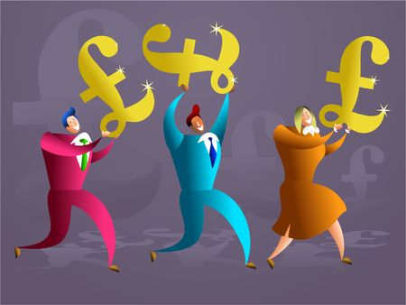 commissions: team of colourful executives carrying golden pound symbols - concept illustration Stock Photo