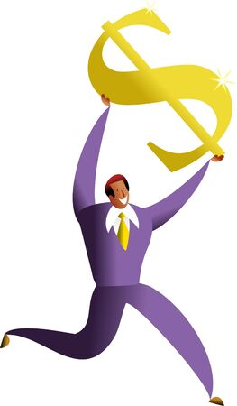 asian business man: happy asian business man carrying golden dollar symbol - concept illustration