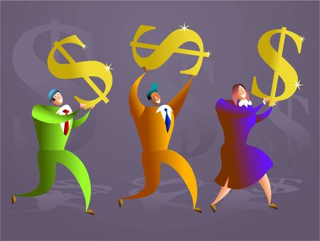 account executives: colourful team of executives carrying golden dollar symbols - concept illustration Stock Photo