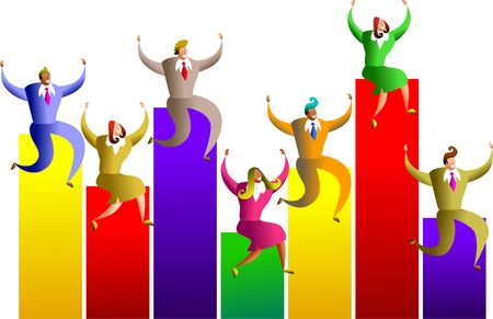 sales executive: team of colourful executives sitting on stats graph chart - concept illustration