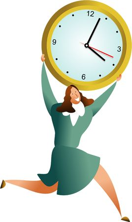 happy business woman carrying office clock - concept illustration Stock Illustration - 574846