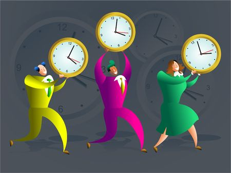 team of colourful executives carrying office clocks - concept illustration Stock Illustration - 574843