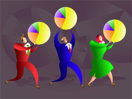 happy successful business team carrying pie charts - conceptual illustration Stock Illustration - 574836