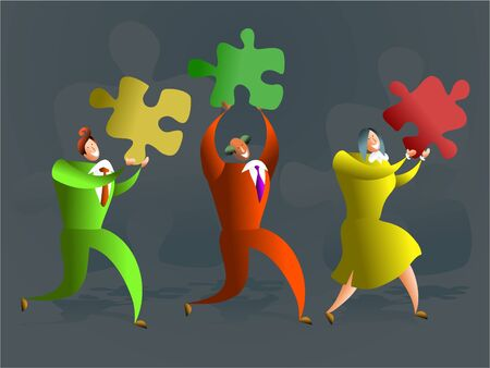 team of executives carrying puzzle pieces - conceptual illustration illustration