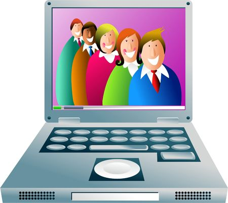 helpful: happy and helpful team of computer support staff - concept illustration Stock Photo