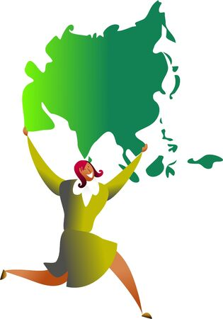happy ethnic woman carrying a map of asia - business concept illustration Stock Illustration - 574746