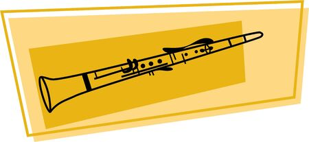 clarinet: line drawing of a clarinet wood wind musical instrument Stock Photo