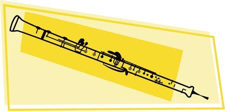 línea de dibujo de un oboe de madera instrumento musical de viento  Foto de archivo - 574741