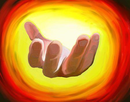 digitale schilderij van een hand lonkende ons te komen naar het