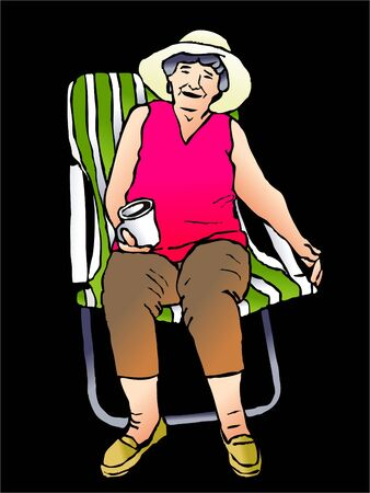 deck chair: portrait of a beautiful grandma relaxing in a deck chair with a drink Stock Photo