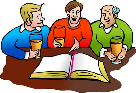 church group: group of men discussing the bible over a pint of beer - illustration designed for my local church poster