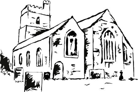 place of worship: line drawing of an ancient church building with some graves in the foreground