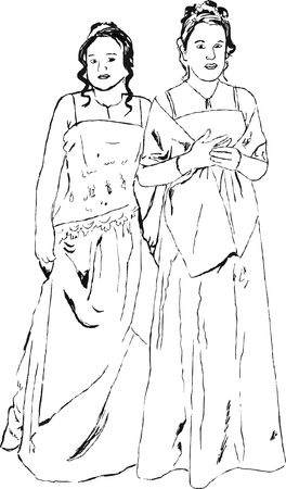 prom: delicate line drawing of two young women dressed up on their prom night
