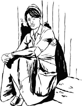 doorstep: sketchy style drawing of a young woman sitting alone on a step Stock Photo