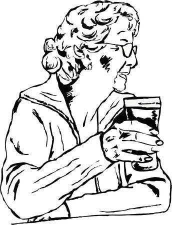 sketchy drawing of an elderly woman sat relaxing and holding a pint of beer Stock Photo - 582695