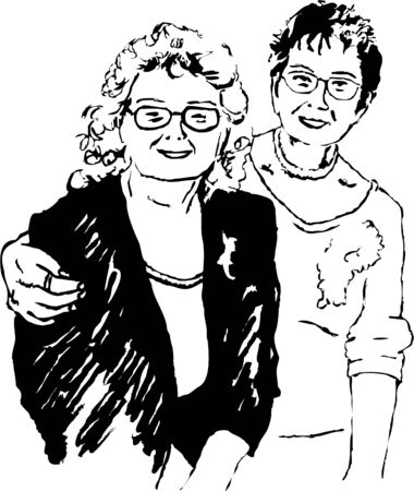 sketchy drawing style illustration of two elderly ladies who are good friends Stock Illustration - 582700