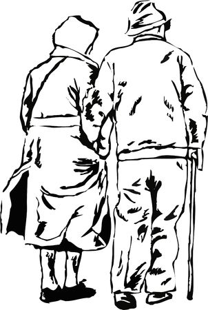 old people: sketchy drawing style illustration of an elderly couple walking together hand in hand