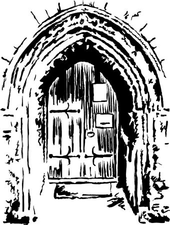 archway: rough sketchy style drawing of an ancient church doorway