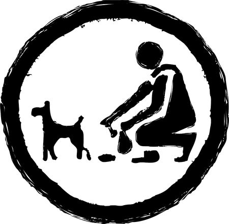 dog poop: rough sketchy drawing style illustration of a clean it up dog sign