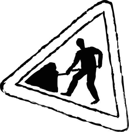 road works: rough sketchy drawing style illustration of a road works traffic sign Stock Photo